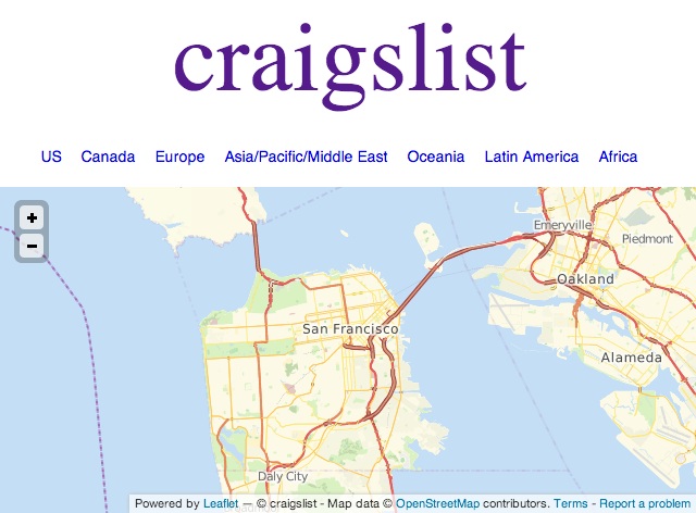 Craigslist To Be Top Sponsor For State Of The Map SF - Us map san francisco